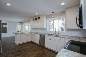kitchen with hard wood floor, custom construction services