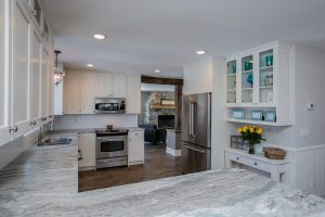 Kitchen with hard wood floor custom construction services