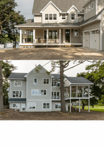 Front and back pictures of house with wrap around porch and trees