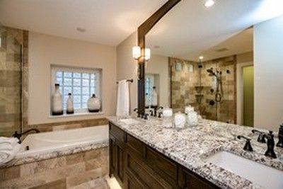Master Bathroom with large mirror