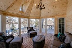 Covered deck view with chandelier