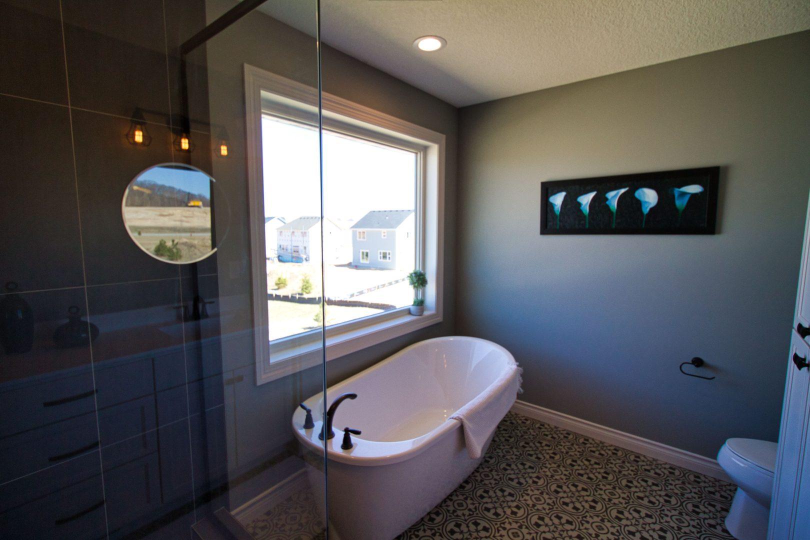 Bathroom featuring deep tub