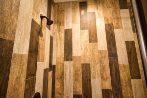 Wooden standing shower wall
