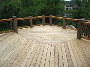 Deck with luxury railing and white wood