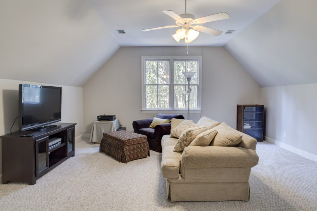 Attic man cave with tv